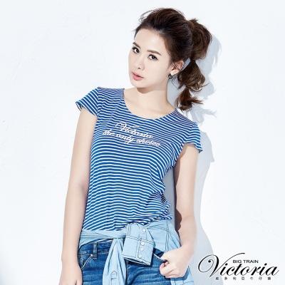 Victoria 彈性條紋LOGO印花T-女-藍白條