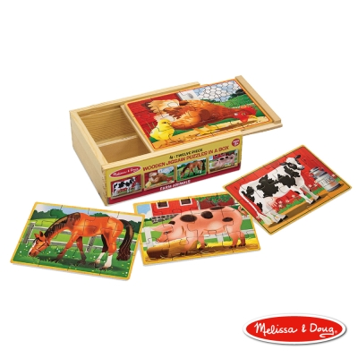 美國瑪莉莎 Melissa & Doug 盒中木製拼圖 - 農場動物