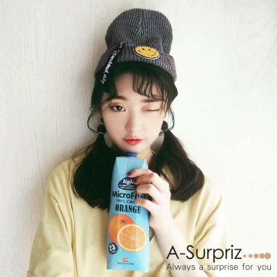 A-Surpriz-可愛微笑徽章反摺針織帽-灰