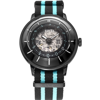 FIYTA飛亞達3D立體讀時機械錶(WGA868003.BBB)-黑色/45mm