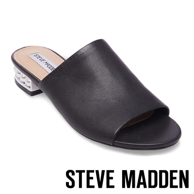 STEVE MADDEN-BRIELE-P-BLACK-粗低跟皮面拖-黑色