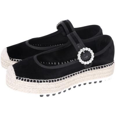 MBMJ SUZI Espadrille 水鑽釦飾瑪麗珍厚底草編鞋(黑色)