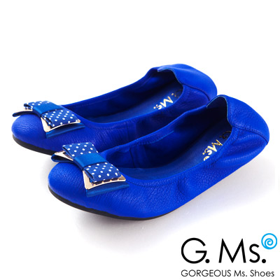 G.Ms.  輕旅行-水玉點點布金屬蝴蝶結折疊旅行鞋-覆盆莓藍