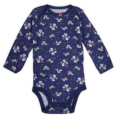 Carters藍底花朵印花長袖包屁衣