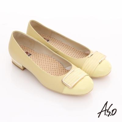 A.S.O 3E舒活寬楦 全真皮拼接金屬飾釦奈米粗跟鞋 淺黃