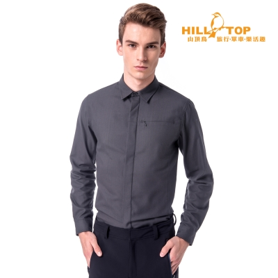 【hilltop山頂鳥】男款吸濕保暖長襯衫C05M21深灰