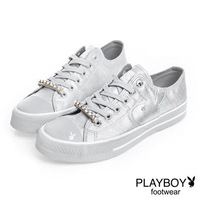 PLAYBOY 光采搖滾 可拆鞋帶釦亮粉帆布鞋-銀(女)