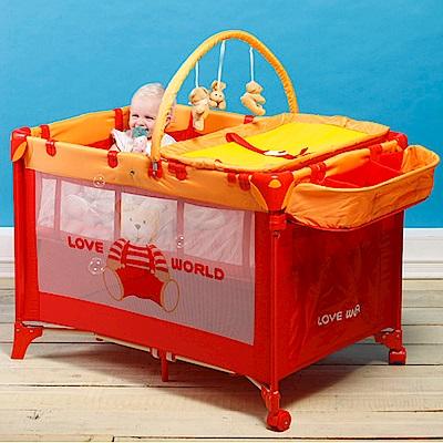 愛的世界 可攜式多功能豪華型嬰兒遊戲床-台灣製-