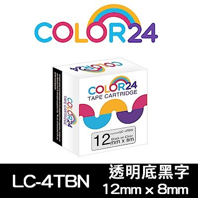 Color24 for Epson LC-4TBN 透明底黑字相容標籤帶(寬度12mm)