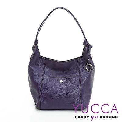 YUCCA-多彩甜美牛皮立體肩背桶包-  紫色- 1118A068009