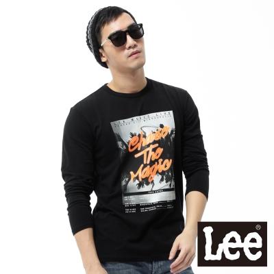 Lee-長袖T恤-演唱會像版印加螢光文字-男款-黑