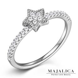 Majalica純銀戒指 星星線戒尾戒半圈鑲鑽-共3色