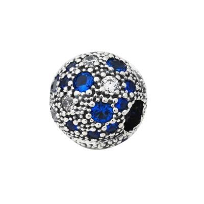 Pandora 潘朵拉 藍白鋯石夾扣圓墜