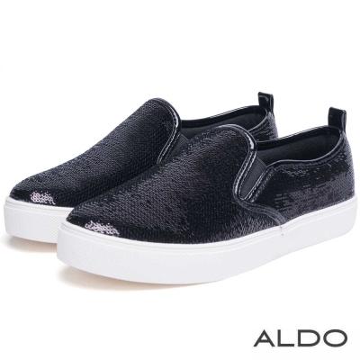 ALDO-原色亮片金屬光澤滾邊休閒便鞋-尊爵黑色