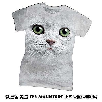 摩達客 美國進口The Mountain 綠眼貓臉 短袖女版T恤