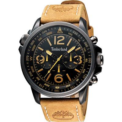 Timberland 叢林野戰時尚日曆腕錶-黑/淺咖/45mm