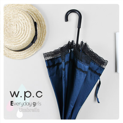 【w.p.c.】日式洋傘*銀膠抗UV99.6%輕量手開直傘(黑色蕾絲)