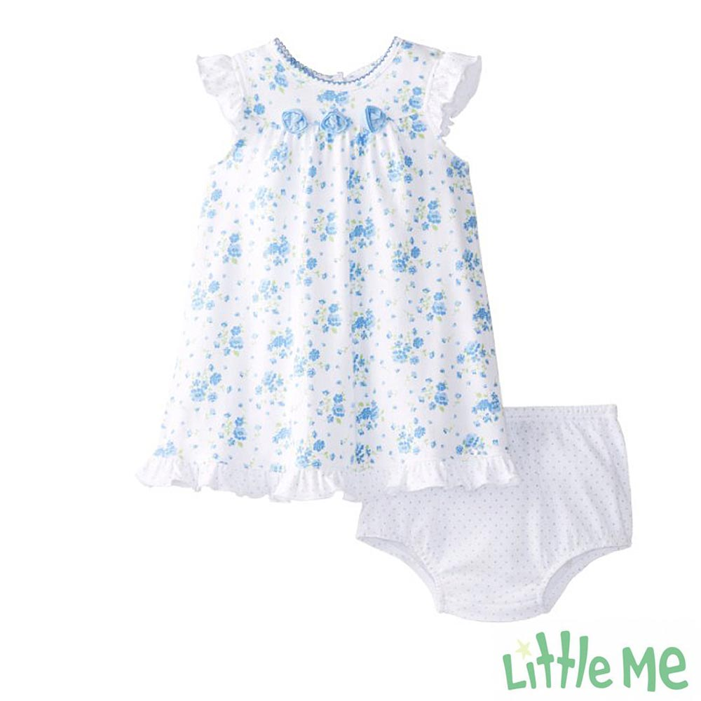 Little Me 藍色碎花無袖洋裝 兩件組