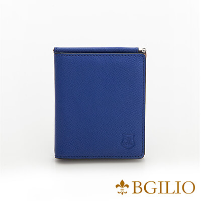 義大利BGilio-都會十字紋牛皮歐風輕薄短夾-藍色-2299.301-09