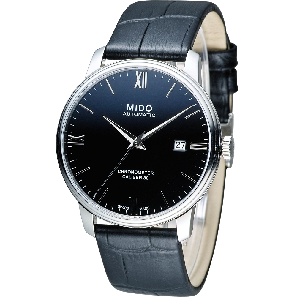 MIDO Baroncelli III 永恆系列矽游絲天文台認證機械錶-黑(皮)/40mm