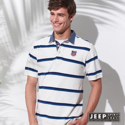 JEEP 英倫盾牌撞色條紋短袖POLO衫 (白色)