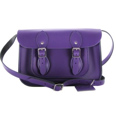 The Leather Satchel 英國手工牛皮劍橋包 肩背 側背包 舞夜紫 11吋