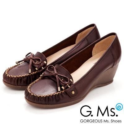 G-Ms-MIT系列-知性學院-手工縫線蝴蝶結全真皮楔型鞋-深咖啡