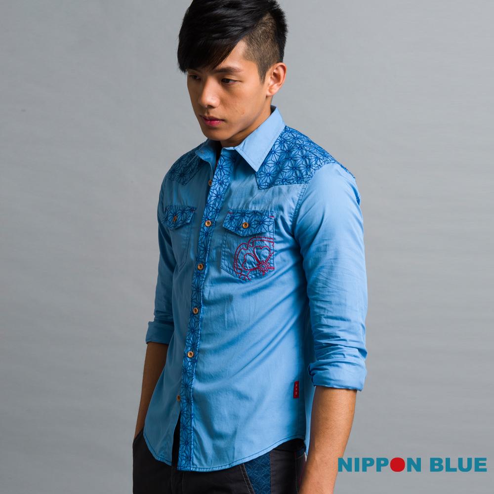 日本藍 BLUE WAY 麻葉刺繡長袖襯衫