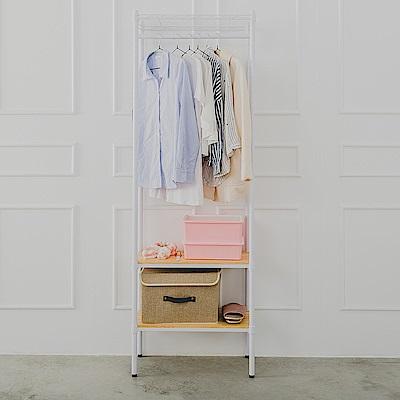 dayneeds松木三層單桿衣櫥烤漆白60x30x180cm(附塑膠輪)
