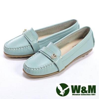 W&M 貓頭鷹可水洗柔軟防滑鞋底 豆豆鞋莫卡辛鞋女鞋-淺藍