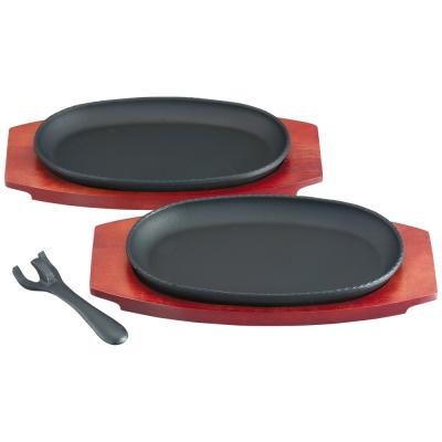 南部池永-鑄鐵牛排烤盤-小2件組