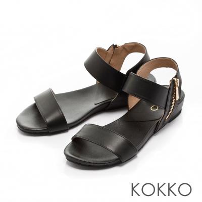 KOKKO-搖滾龐克線條側拉鍊真皮平底涼鞋-黑