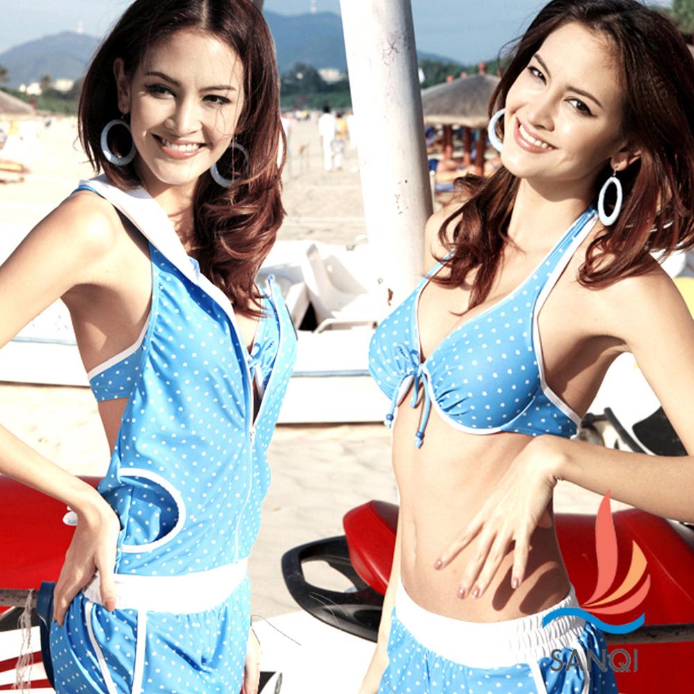 SANQI三奇 繽紛星彩 四件式鋼圈比基尼泳衣(藍M~XL)