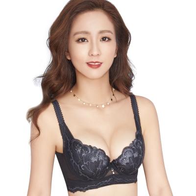 思薇爾 羽戀之迷Ⅱ系列C-F罩蕾絲刺繡背心式內衣(黑色)