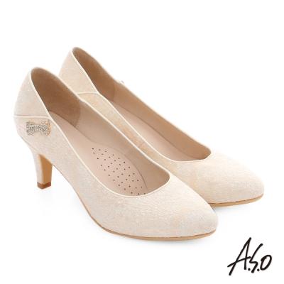A.S.O 幸福華爾滋 精緻蕾絲水鑽高跟鞋 白色