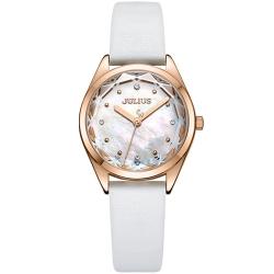 JULIUS聚利時 星之守護貝殼面皮帶腕錶-白色/29mm
