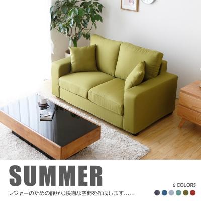 H&D 亞瑟亮彩獨立筒舒適雙人布沙發-六色可選