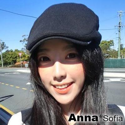 AnnaSofia 側雙釦細直紋厚棉 鴨舌帽小偷帽(黑系)