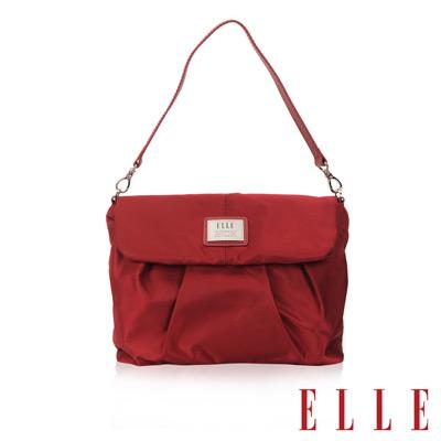 ELLE 法式優雅時尚風貌手提/肩背包款 百褶側包淑媛設計 搭配質感頭層皮-酒紅
