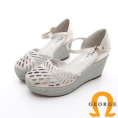 GEORGE 喬治-簍空真皮扣環厚底涼鞋楔型鞋-淺金