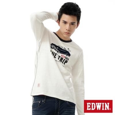 EDWIN-T恤-歡樂兜風圓領T恤-男-米白