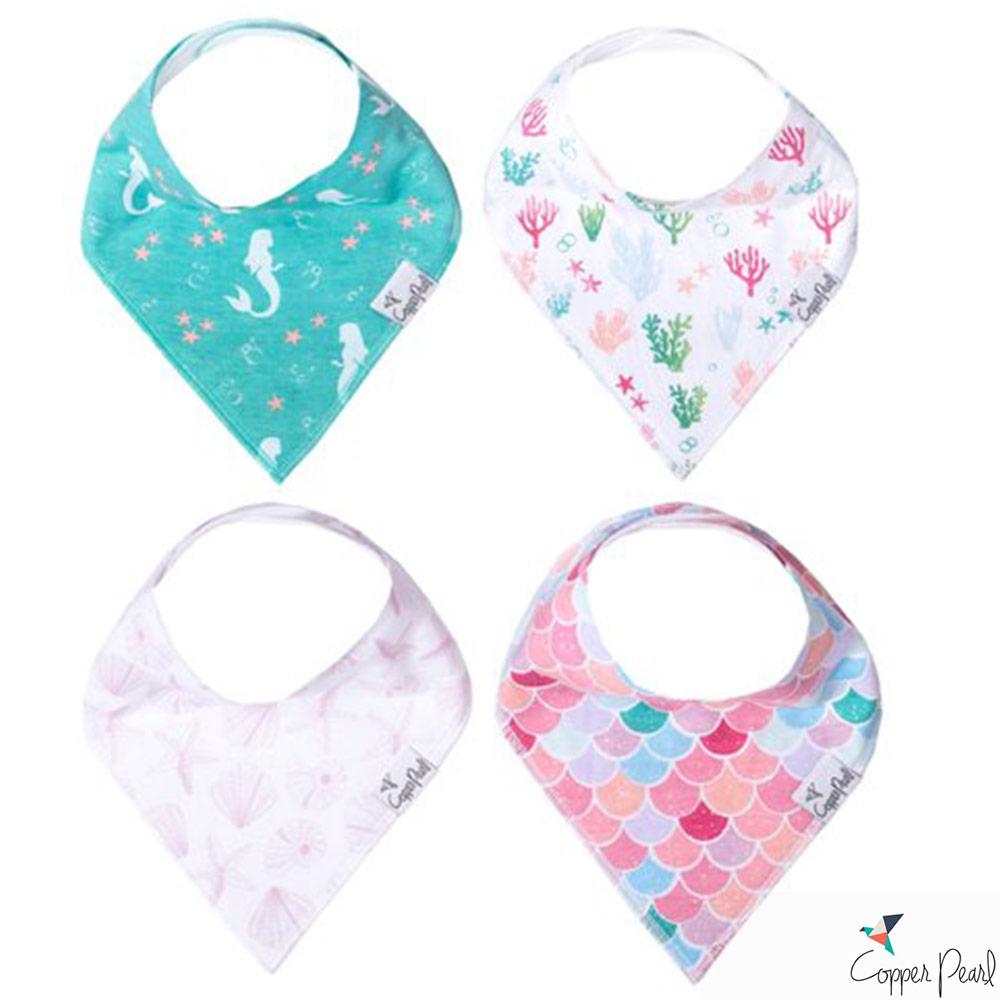 Copper Pearl 美國 小美人魚雙面領巾圍兜口水巾4件組