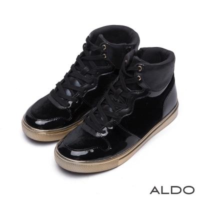 ALDO-明日世界魅惑黑幾何金屬高筒運動鞋-尊爵黑色