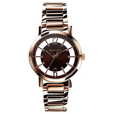 RELAX TIME RT56 輕熟風格系列鏤空腕錶-咖啡x玫瑰金/36mm