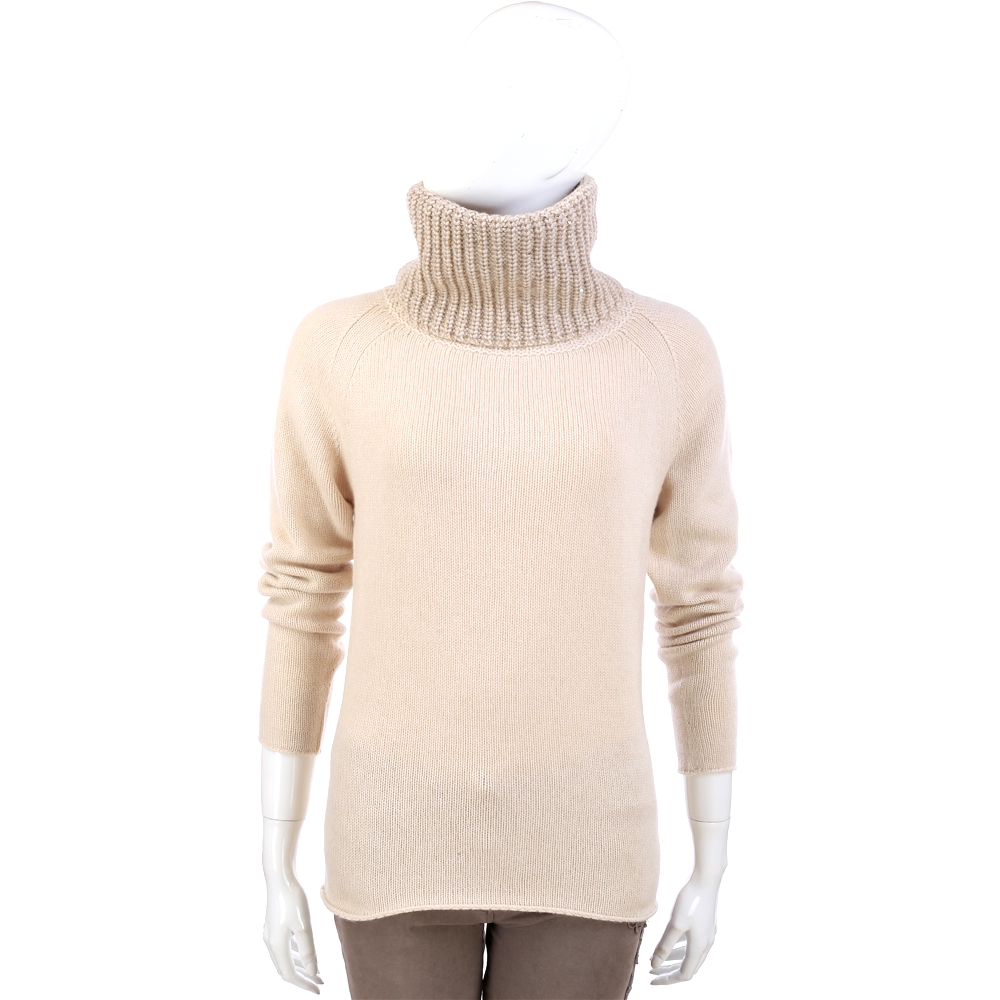 FABIANA FILIPPI 米色針織拼接設計高領長袖毛衣(62% LANA)