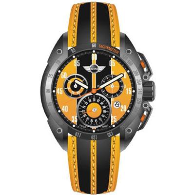 MINI Swiss Watches飆風三眼計時賽車錶MINI-160111-橘/47mm