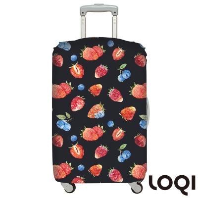 LOQI行李箱套 草莓M號 適用22-27吋行李箱保護套