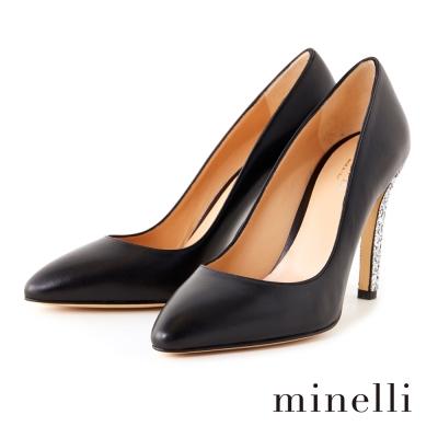 Minelli-小牛皮亮片鞋跟高跟鞋-亮眼黑