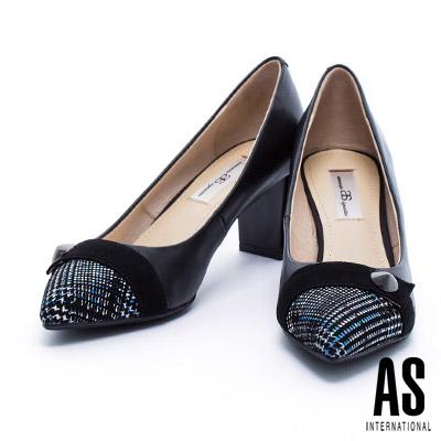 高跟鞋 AS 經典千鳥格紋麂皮拼接質感素面羊皮尖頭粗跟鞋-藍
