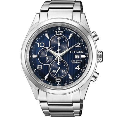 CITIZEN 星辰錶  光動能超級鈦計時腕錶-藍/43mm